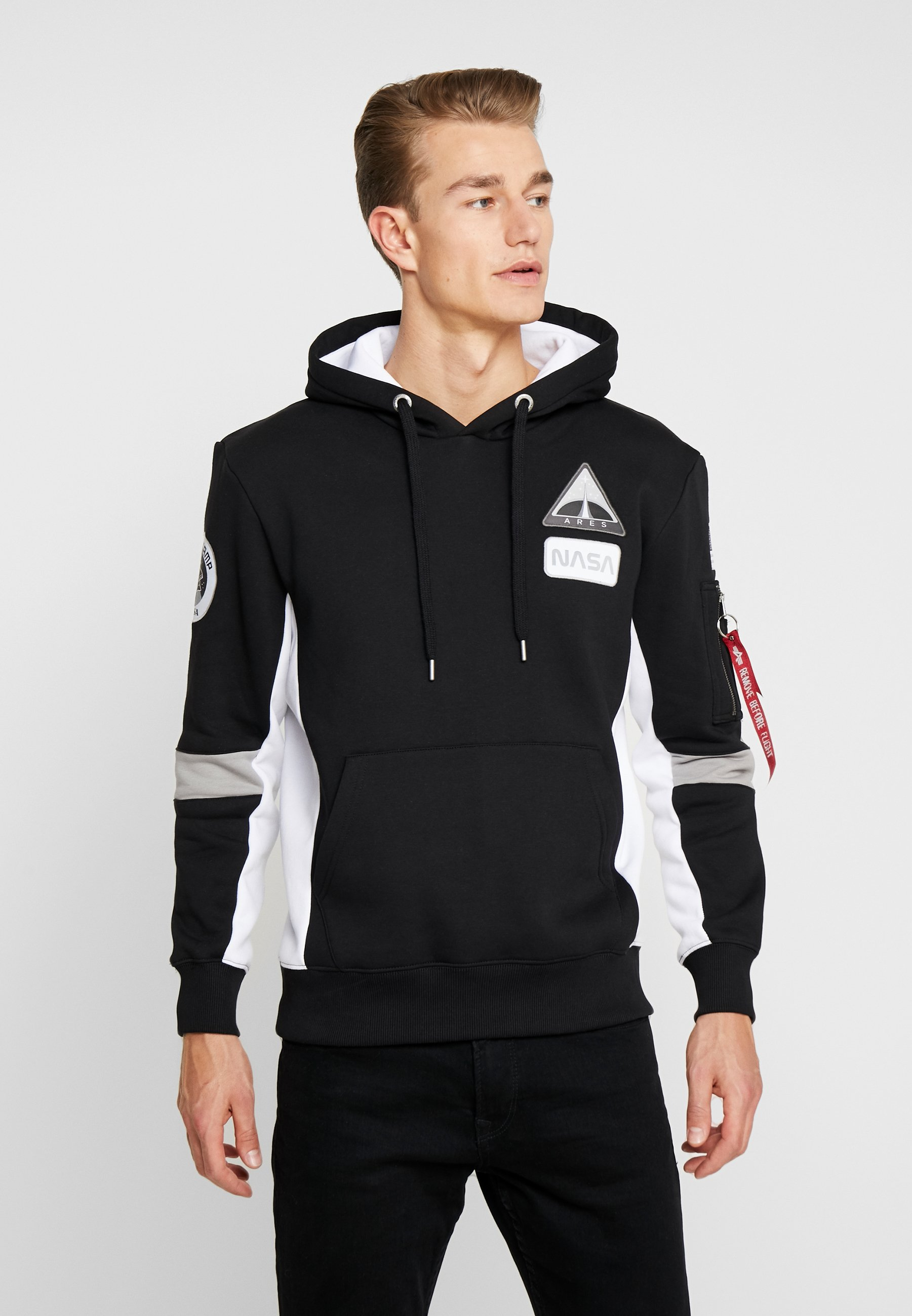 Alpha Industries SPACE CAMP HOODY - Bluza z kapturem - black