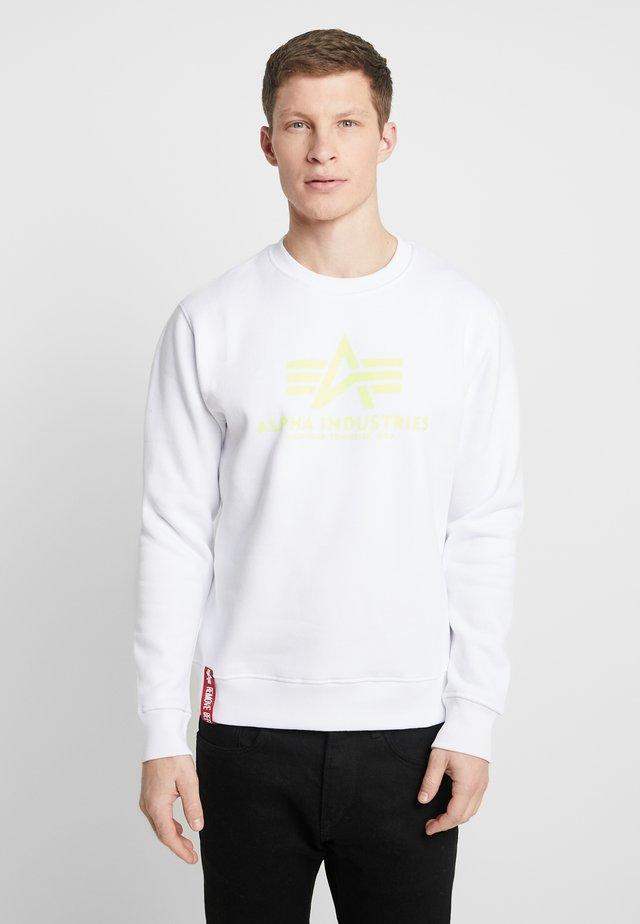 Collegepaita - white/neon yellow