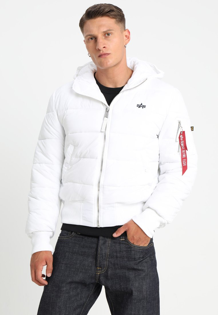 Alpha Industries - HOODED PUFFER - Giacca invernale - white