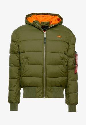 HOODED PUFFER - Veste d'hiver - dark green/orange