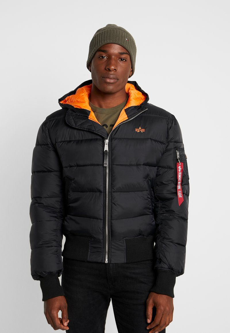 Alpha Industries - HOODED PUFFER - Giacca invernale - schwarz / orange