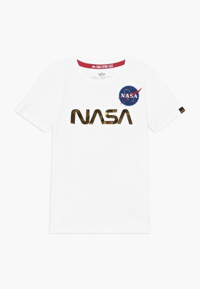 NASA KIDS - T-shirt z nadrukiem - white/gold
