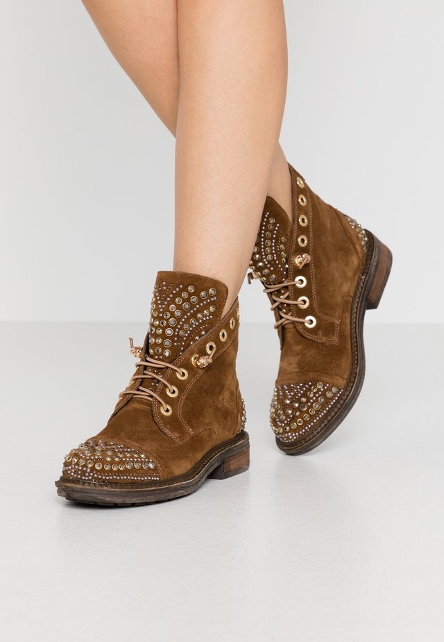 Lace-up ankle boots - camel