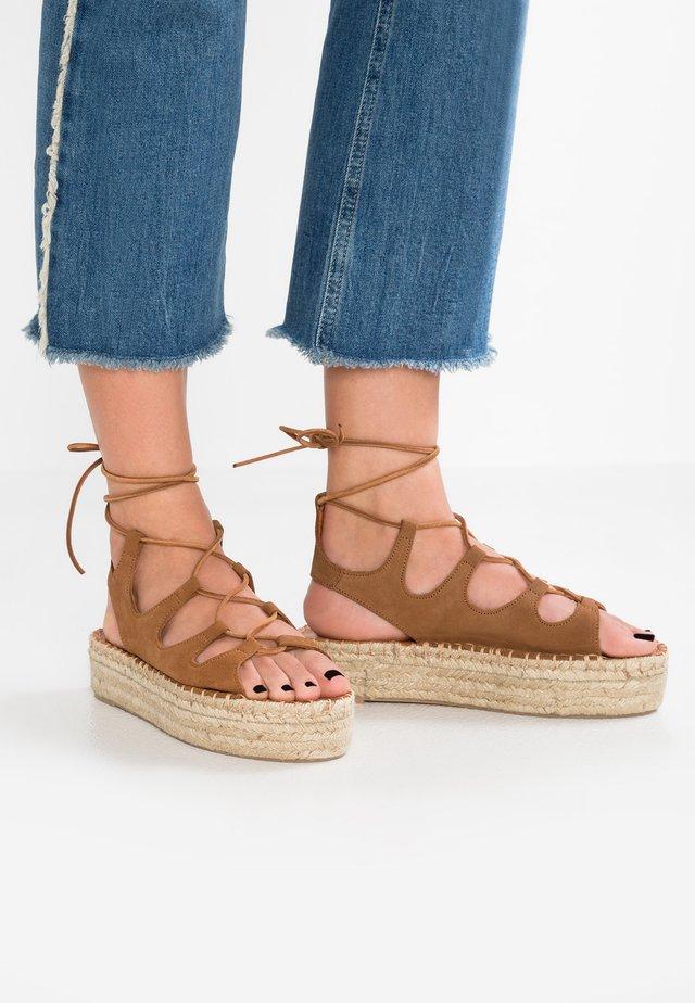 GLADIATOR - Platform sandals - cognac