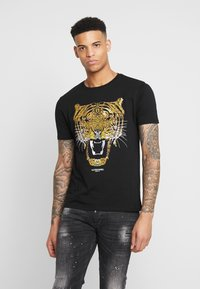 Alessandro Zavetti - GROWLER  - T-shirt print - black/gold - 0