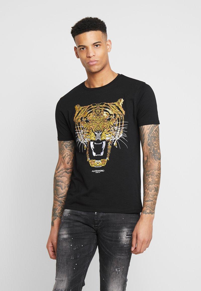 Alessandro Zavetti - GROWLER  - T-shirt print - black/gold