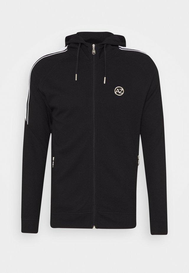 MARINO INTERLOCK ZIP THROUGH - Zip-up hoodie - black