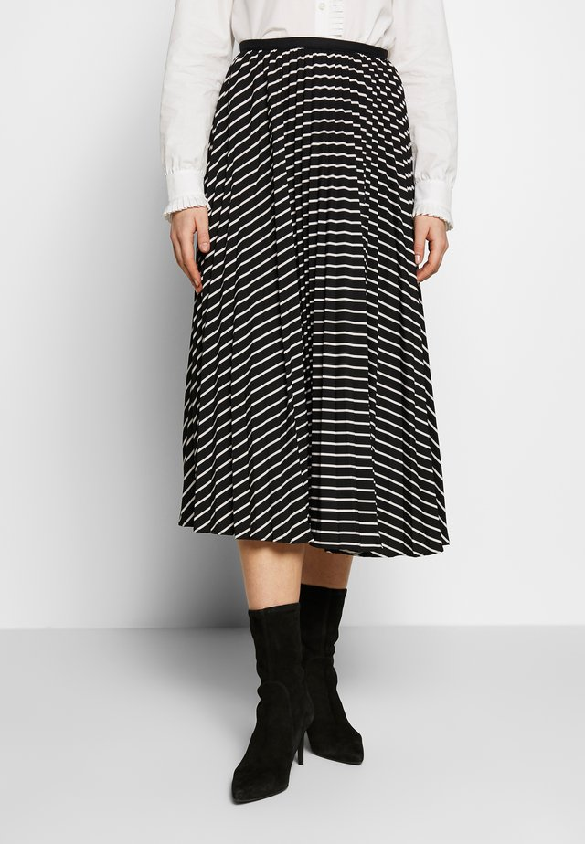 ROE PLEATED CIRCLE SKIRT - A-linjainen hame - black/ivory