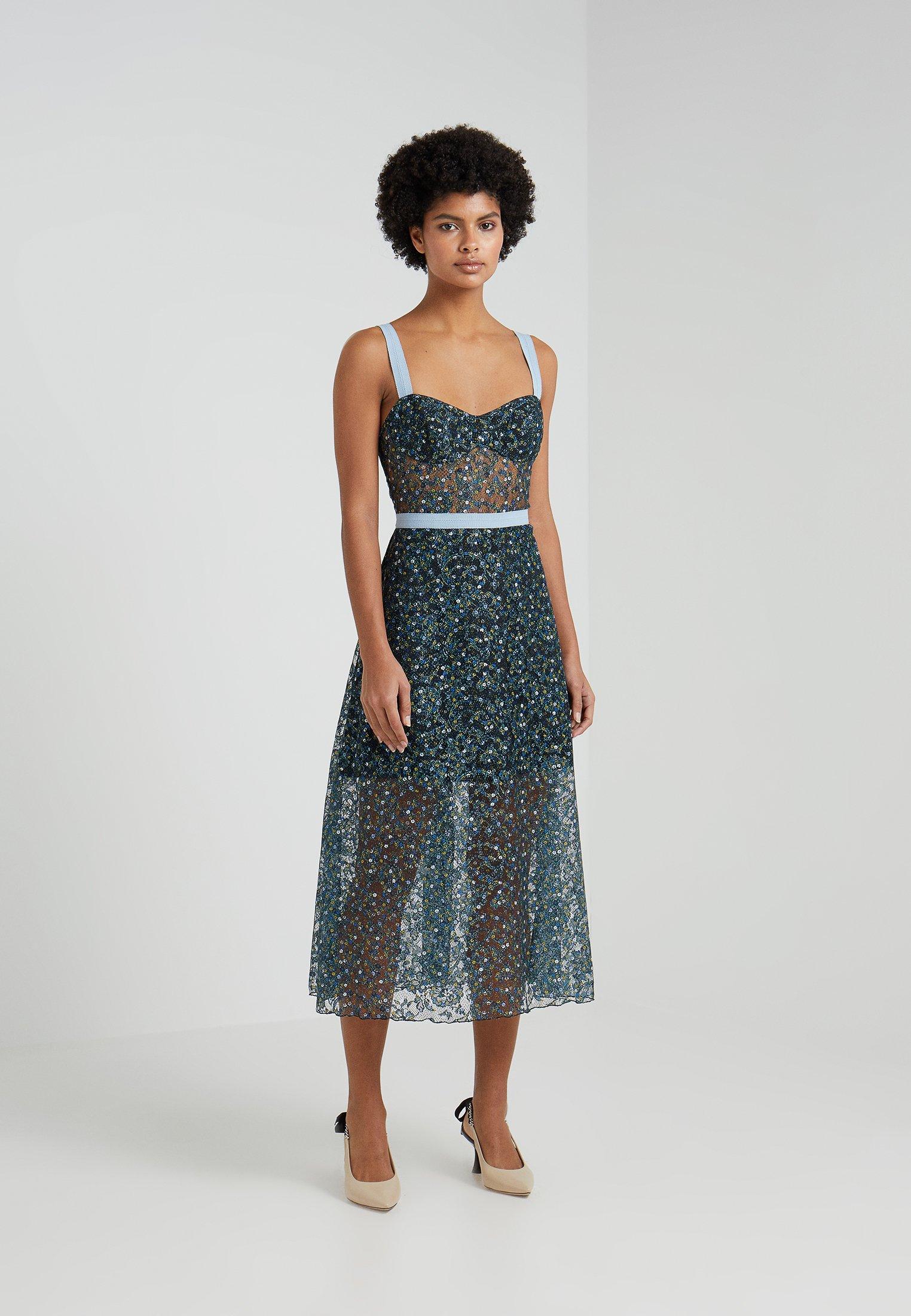 DressRobe Bustier De Blue Allen Cocktail Schwartz Eden HW2Y9IeED