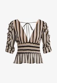 Allen Schwartz - LARA STRIPE DEEP V TOP SMOCKED WAIST - Print T-shirt - black/gold - 4