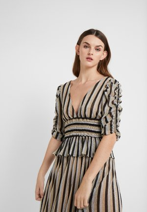 LARA STRIPE DEEP V TOP SMOCKED WAIST - T-shirt con stampa - black/gold