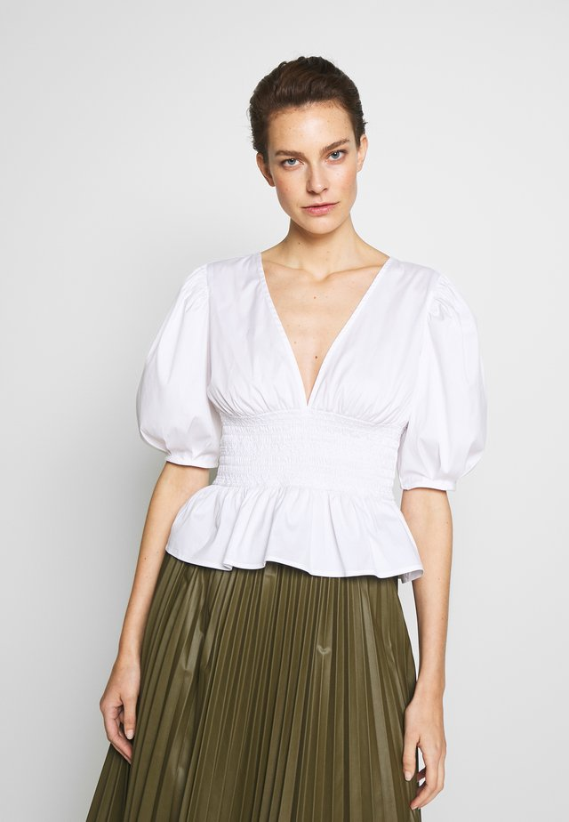 FRIDA VNECK BLOUSE SMOCKING AT WAIST - Pusero - white