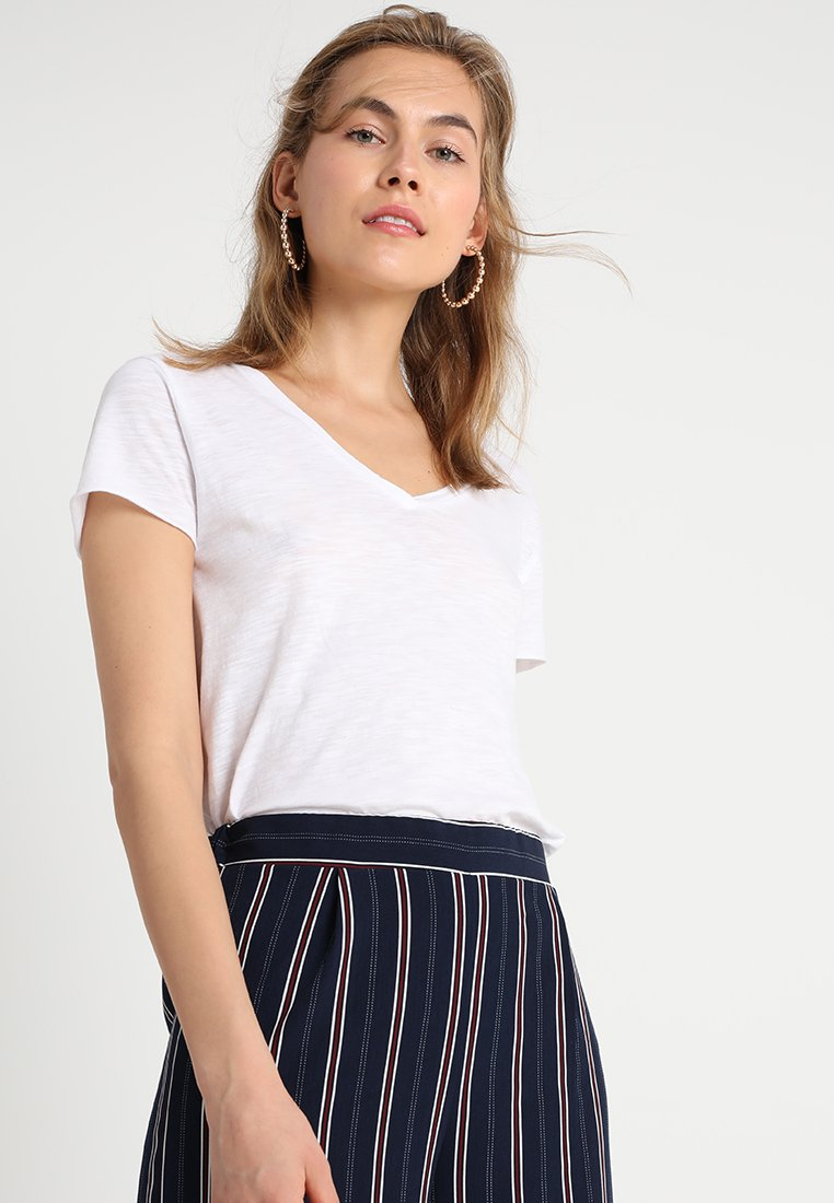 American Vintage - JACKSONVILLE V NECK TEE - T-Shirt basic - blanc