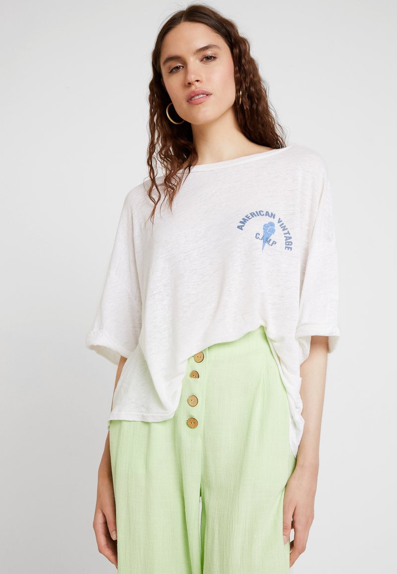 American Vintage - LOLOSISTER - T-shirt z nadrukiem - blanc