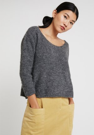 WOXILEN ROUND NECK CROPPED JUMPER - Strikkegenser - anthracite chine