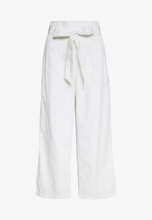 PAPERBAG WIDE LEG PANTS - Bukse - white