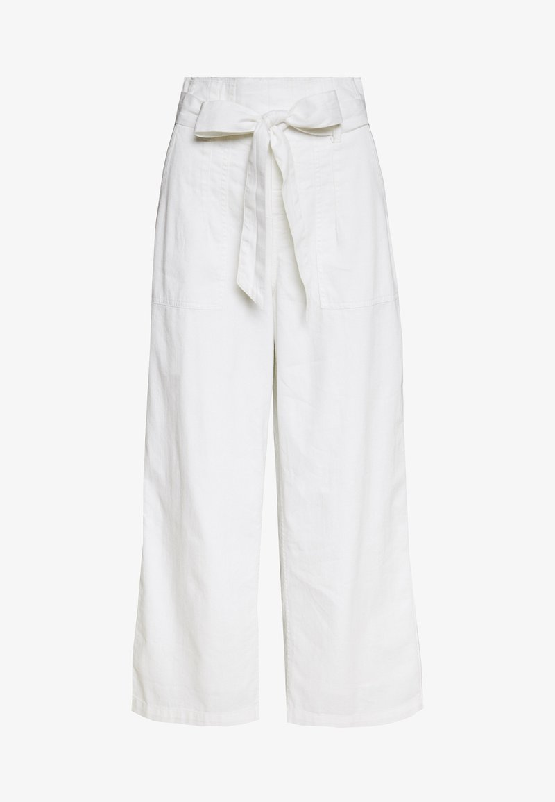 American Eagle - PAPERBAG WIDE LEG PANTS - Trousers - white