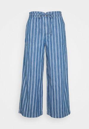 WIDE LEG CROP - Trousers - blue