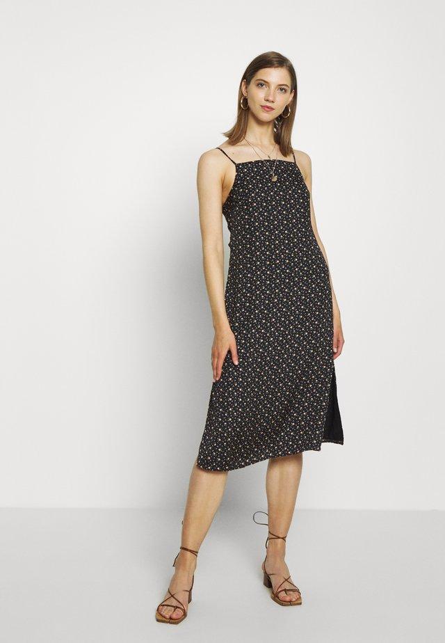 TIE BACK MIDI SLIP - Korte jurk - black
