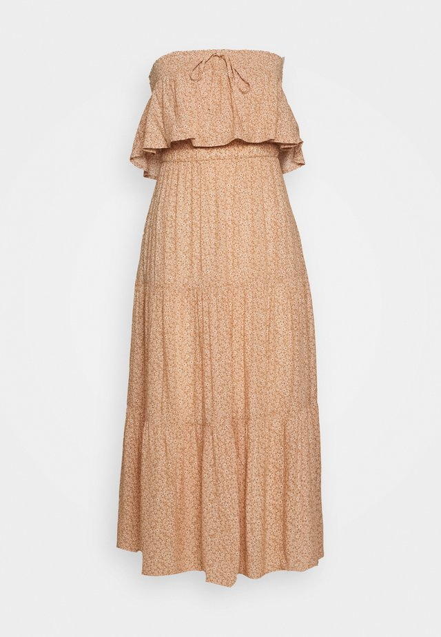 TUBE TIERED DRESS - Długa sukienka - sand