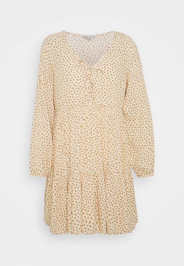 LONG SLEEVE BABYDOLL LINED - Korte jurk - white