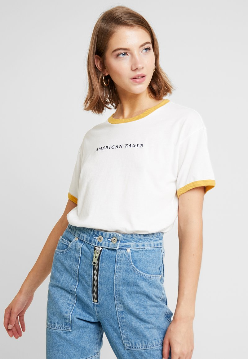 American Eagle - LOGO SANTA MONICA RINGER TEE - Print T-shirt - white