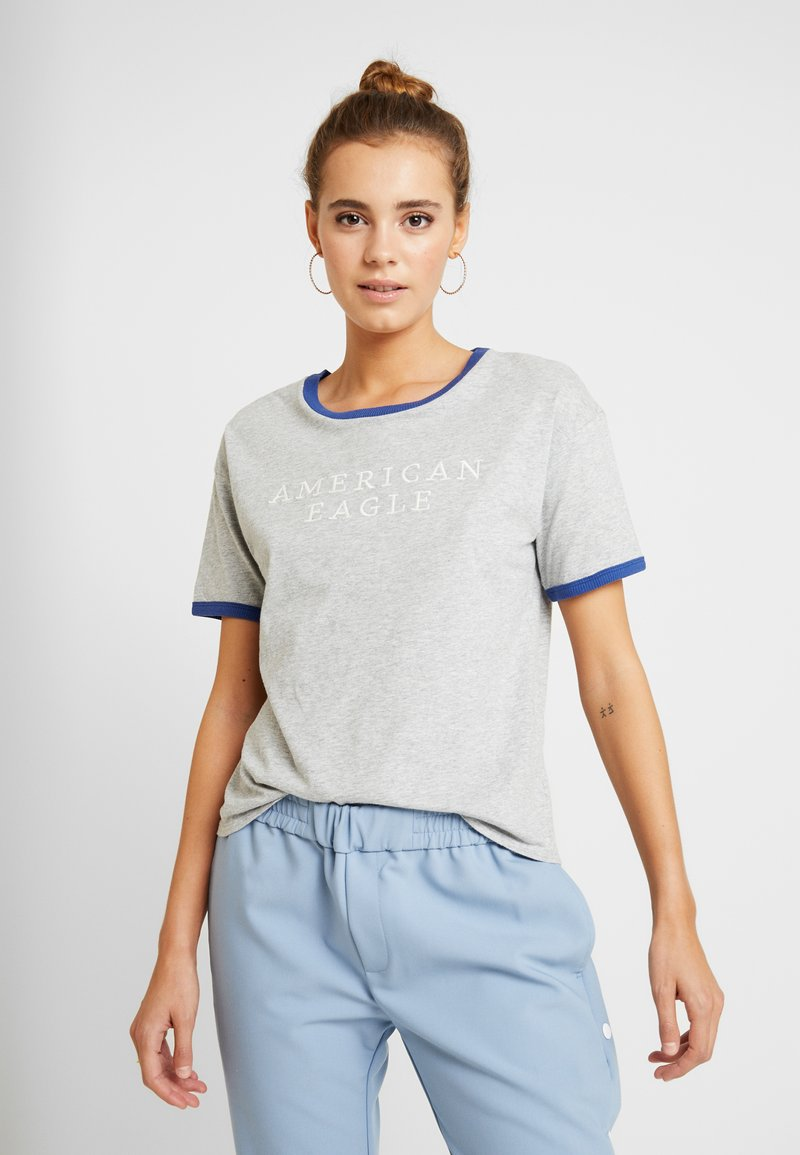 American Eagle - LOGO SANTA MONICA RINGER TEE - T-shirt imprimé - gray