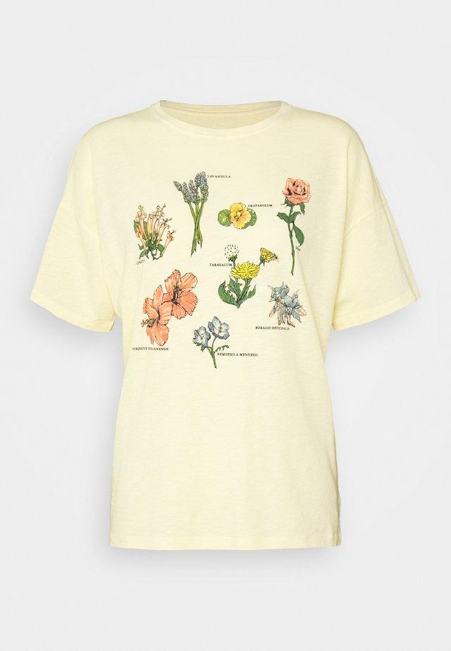 FLOWER TYPES DINER TEE - Printtipaita - yellow