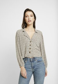 American Eagle - CROP LAPEL - Button-down blouse - tan - 0
