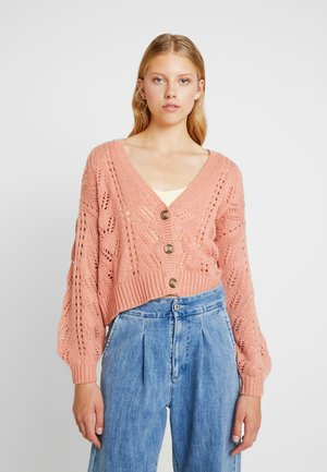 POINTELLE STITCH BUTTON FRONT CARDIGAN - Cardigan - peach