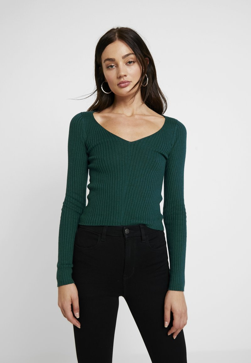 American Eagle - V-NECK CROPPED - Stickad tröja - green