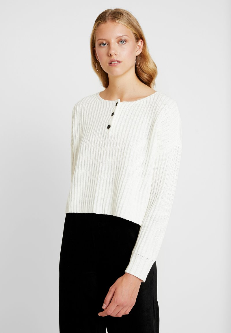American Eagle - CROPPED HENLEY - Jumper - cream