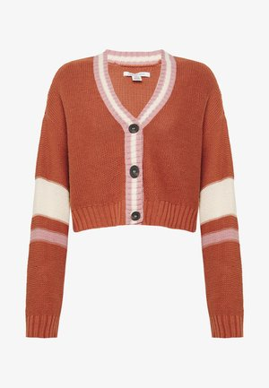 SLOUCHY SLEEVE STRIPE BOYFRIEND CARDIGAN - Strickjacke - rust