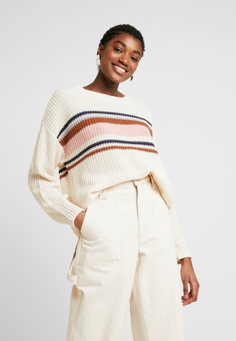 American Eagle - CHEST STRIPE SHAKER - Jumper - cream