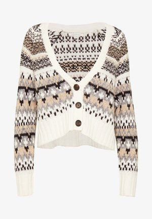 CROPPED SLOUCHY FAIR ISLE CARDIGAN - Gilet - cream