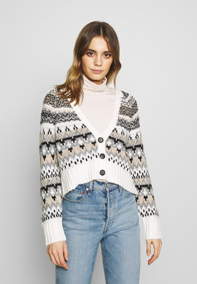 CROPPED SLOUCHY FAIR ISLE CARDIGAN - Kofta - cream