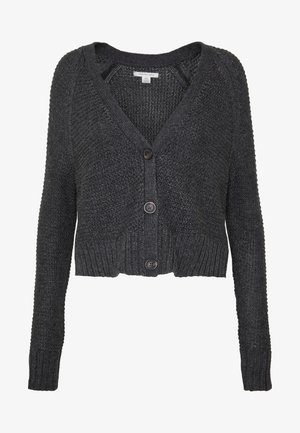 CROPPED SLOUCHY TEXTURE CARDIGAN - Cardigan - charcoal