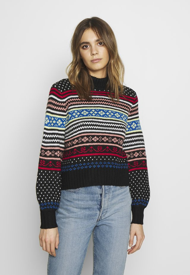 HYPER FAIR ISLE MOCK NECK - Strikkegenser - black