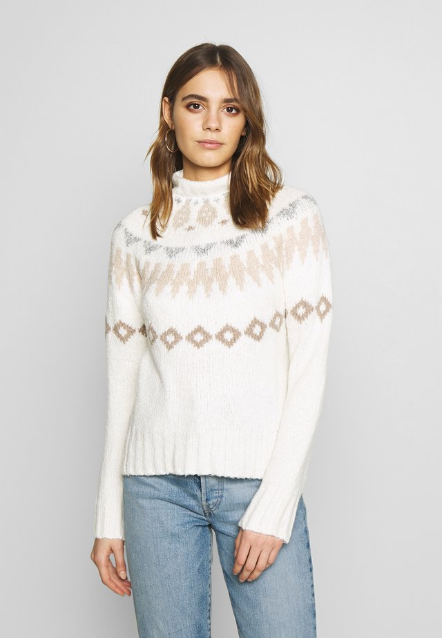 MOCK NECK FAIR ISLE - Jersey de punto - cream