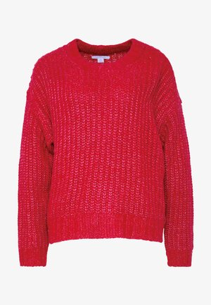 SLOUCHY CROPPED CABLE - Svetr - red