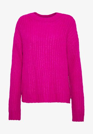 SLOUCHY CROPPED CABLE - Sweter - pink