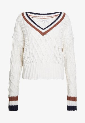 CROPPED V-NECK CABLE - Jumper - cream