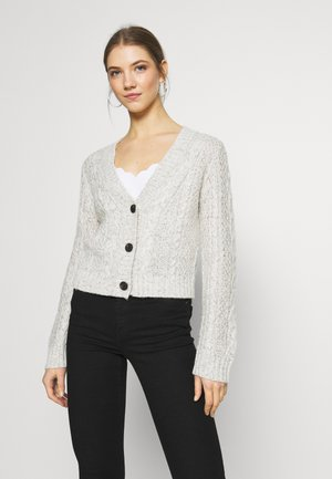CROPPED CABLE CARDIGAN - Cardigan - oatmeal