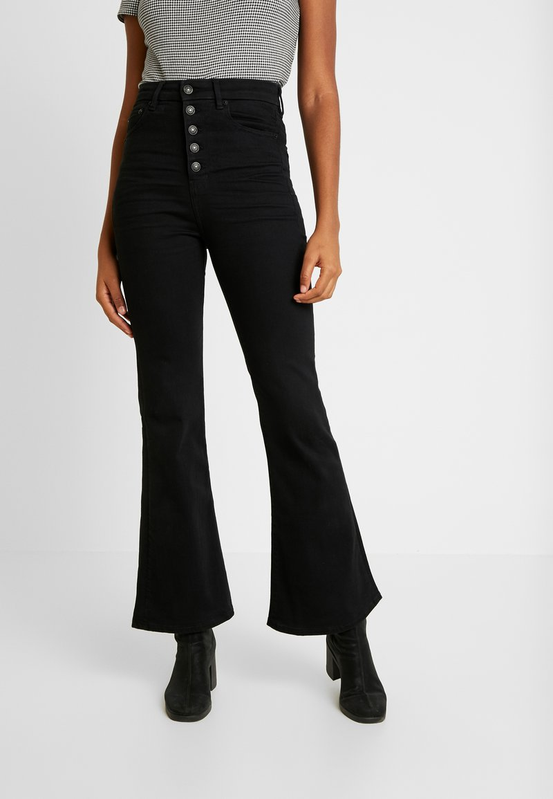 American Eagle - CURVY HIGHEST RISE - Flared Jeans - bold black