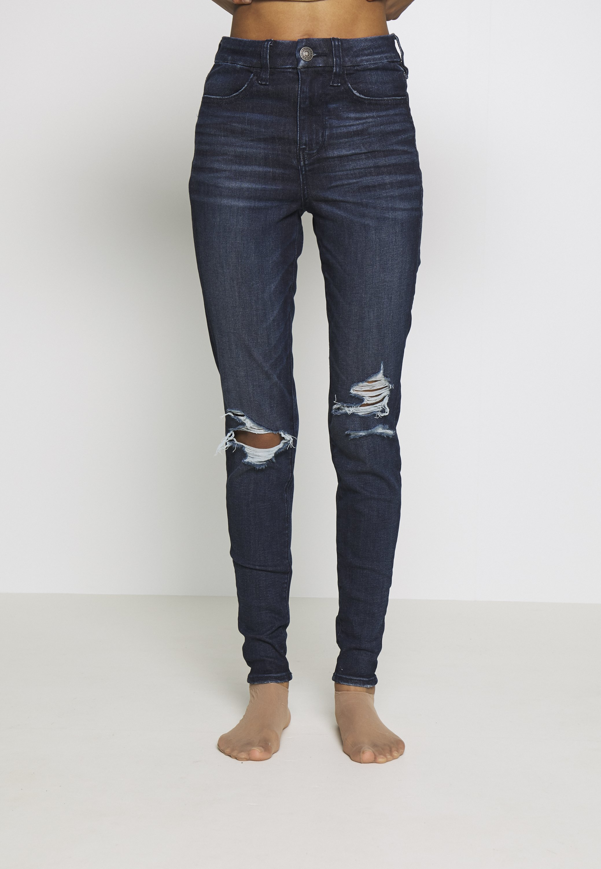 American Eagle CURVY RISE  - Jeansy Skinny Fit - intensely dark
