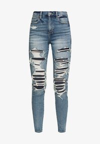 American Eagle - SUPER HI RISE - Jeans Skinny Fit - cloudy sky destroy - 3