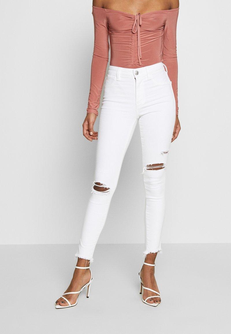 American Eagle - HIGH RISE CROP - Skinny džíny - white
