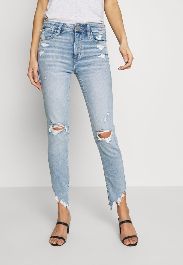 HIGH RISE CROP - Jeans Skinny Fit - destroyed bright
