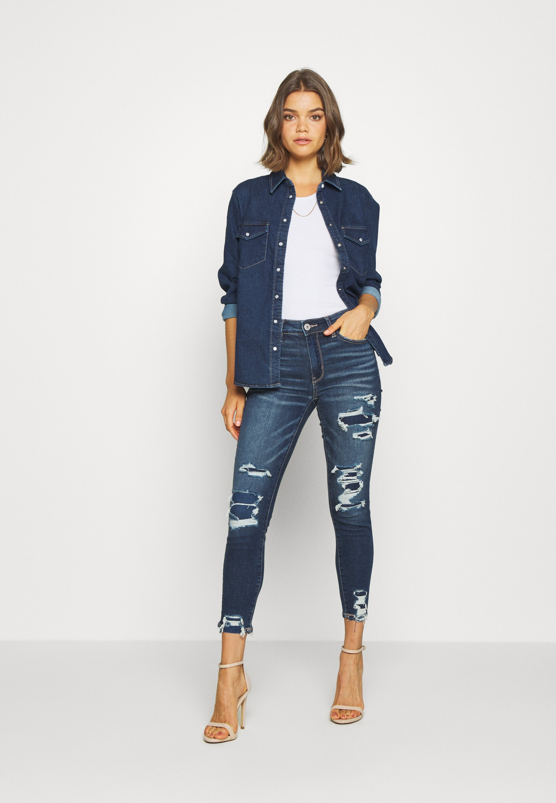 American Eagle HI RISE CROP - Jeggings - blue