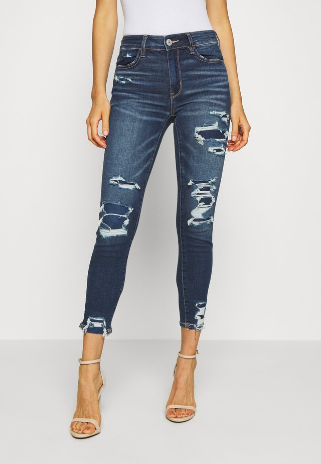 HI RISE CROP - Jeggings - blue